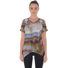 Wall Marble Pattern Texture Cut Out Side Drop Tee