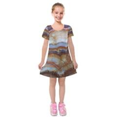 Wall Marble Pattern Texture Kids  Short Sleeve Velvet Dress