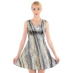 Texture Structure Marble Surface Background V Neck Sleeveless Skater Dress