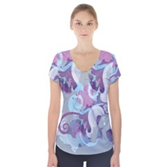 Silver Spoon Stream Wall Short Sleeve Front Detail Top
