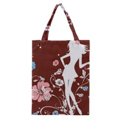 Girl Flowers Silhouette  Classic Tote Bag by amphoto