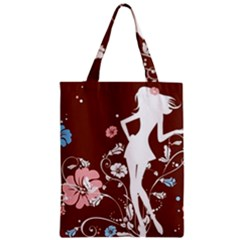 Girl Flowers Silhouette  Zipper Classic Tote Bag by amphoto
