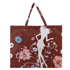 Girl Flowers Silhouette  Zipper Large Tote Bag by amphoto