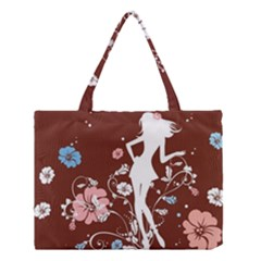 Girl Flowers Silhouette  Medium Tote Bag by amphoto