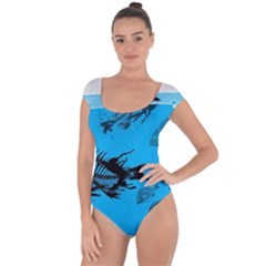 Fish Skeleton Paint  Short Sleeve Leotard  by amphoto