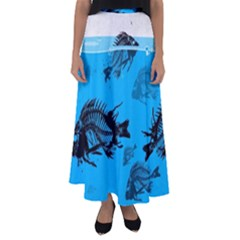 Fish Skeleton Paint  Flared Maxi Skirt