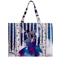 Girl Forest Trees Zipper Mini Tote Bag by amphoto