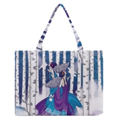 Girl Forest Trees Zipper Medium Tote Bag by amphoto