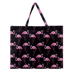 Flamingo Pattern Zipper Large Tote Bag by Valentinaart