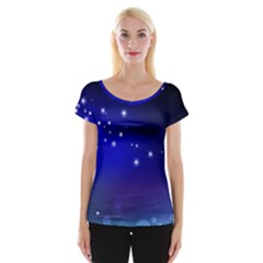Point Way Glitter Cap Sleeve Tops