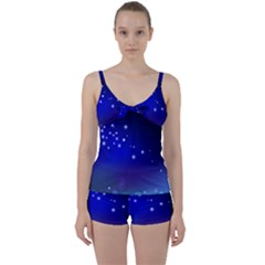 Point Way Glitter Tie Front Two Piece Tankini