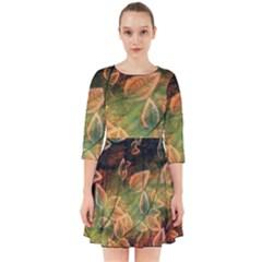 Leaves Plant Multi Colored  Smock Dress