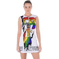 Lgbt New York Lace Up Front Bodycon Dress by Valentinaart
