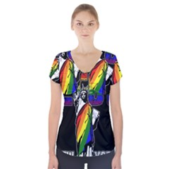 Lgbt New York Short Sleeve Front Detail Top