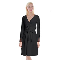 Long Sleeve Velvet Front Wrap Dress