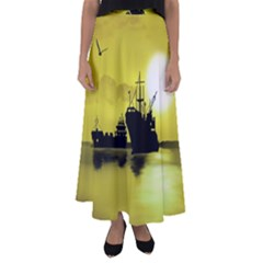 Open Sea Flared Maxi Skirt