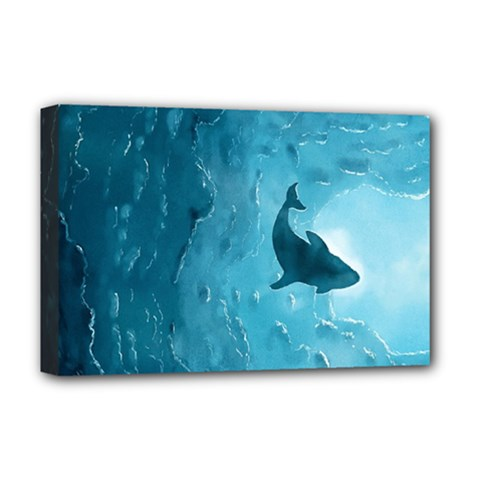 Shark Deluxe Canvas 18  X 12   by Valentinaart