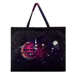 Fragments Planet World 3840x2400 Zipper Large Tote Bag by amphoto