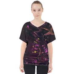 Abstraction Shadow Light V Neck Dolman Drape Top