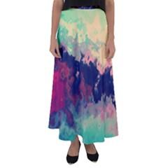 Paint Lights Spots  Flared Maxi Skirt