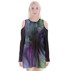 Brush Paint Light  Velvet Long Sleeve Shoulder Cutout Dress by amphoto