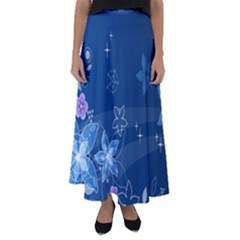 Abstraction Pattern Color  Flared Maxi Skirt
