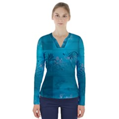 Volume Pattern Abstract V Neck Long Sleeve Top