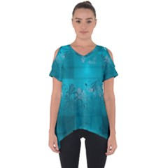 Volume Pattern Abstract Cut Out Side Drop Tee