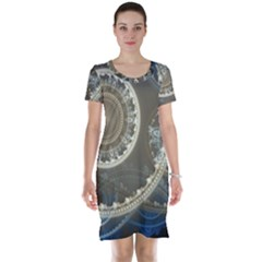 2299 Circles Light Gray 3840x2400 Short Sleeve Nightdress by amphoto