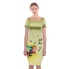2398 Flight Sky Butterflies 3840x2400 Classic Short Sleeve Midi Dress by amphoto