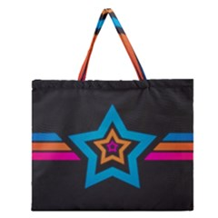 Star Background Colorful  Zipper Large Tote Bag