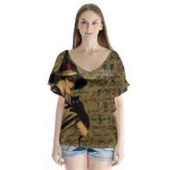 Witchcraft Vintage V Neck Flutter Sleeve Top by Valentinaart