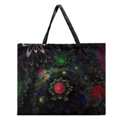 Shapes Circles Flowers  Zipper Large Tote Bag by amphoto