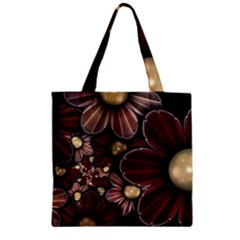 Flower Background Line Zipper Grocery Tote Bag by amphoto