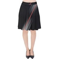 Line Broken Dark Background  Velvet High Waist Skirt by amphoto