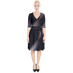 Line Broken Dark Background  Wrap Up Cocktail Dress