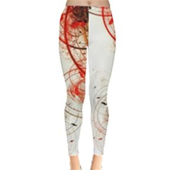 White Ovals Circles Leggings  by amphoto