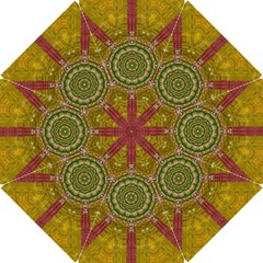 Mandala In Metal And Pearls Hook Handle Umbrellas (small) by pepitasart