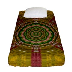 Mandala In Metal And Pearls Fitted Sheet (single Size) by pepitasart