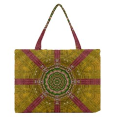 Mandala In Metal And Pearls Zipper Medium Tote Bag by pepitasart