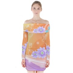 Colors Patterns Lines  Long Sleeve Off Shoulder Dress