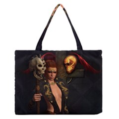 The Dark Side, Women With Skulls In The Night Zipper Medium Tote Bag by FantasyWorld7