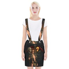 The Dark Side, Women With Skulls In The Night Braces Suspender Skirt by FantasyWorld7