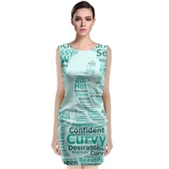 Belicious World Curvy Girl Wordle Sleeveless Velvet Midi Dress by beliciousworld