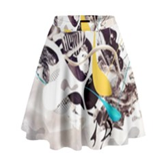 Surrealism Paint Animal  High Waist Skirt by amphoto