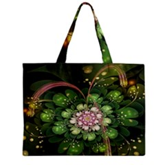 Fractal Flower Petals Green  Zipper Mini Tote Bag by amphoto