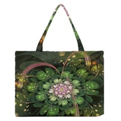 Fractal Flower Petals Green  Zipper Medium Tote Bag by amphoto