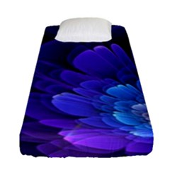 Purple Flower Fractal  Fitted Sheet (single Size) by amphoto