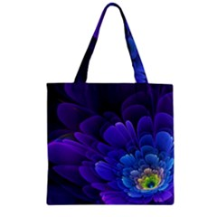 Purple Flower Fractal  Zipper Grocery Tote Bag by amphoto