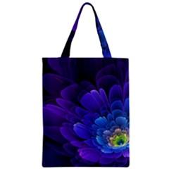 Purple Flower Fractal  Zipper Classic Tote Bag by amphoto